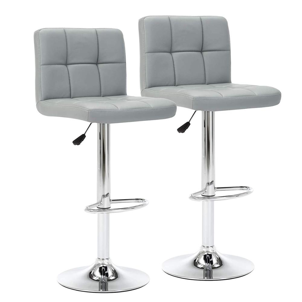 $80.5 Bar Chair Cuban Style Faux Leather Bar Stools Set of 2, Contemporary Kitchen Breakfast Stool Chairs With Back DE
