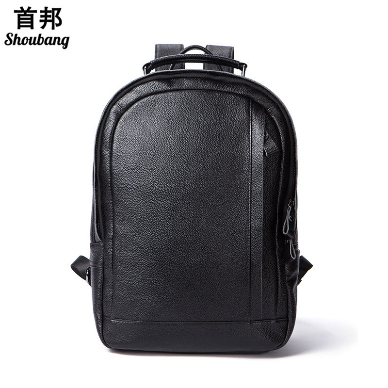 Genuine Leather Laptop Backpack Teenage Girls Casual Style Leather Travel Bags for Short Vacation