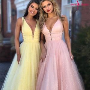 Image 4 - יופי אמילי אלגנטי שושבינה שמלות V צוואר שרוולים פאייטים אפליקציות המפלגה שמלת 2019 ארוך ורוד לנשף שמלות לחתונה