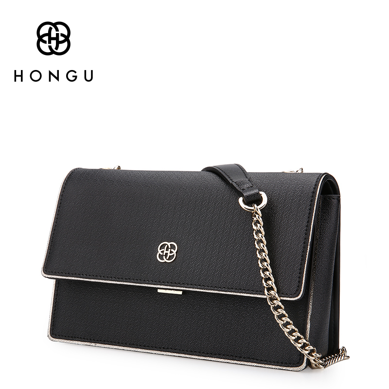 HONGU Natural Cow Leather Bag For Teenagers Girls China Shoulder Crossbody Bags Ladies Solid Business Bag Storage Shopping Bag