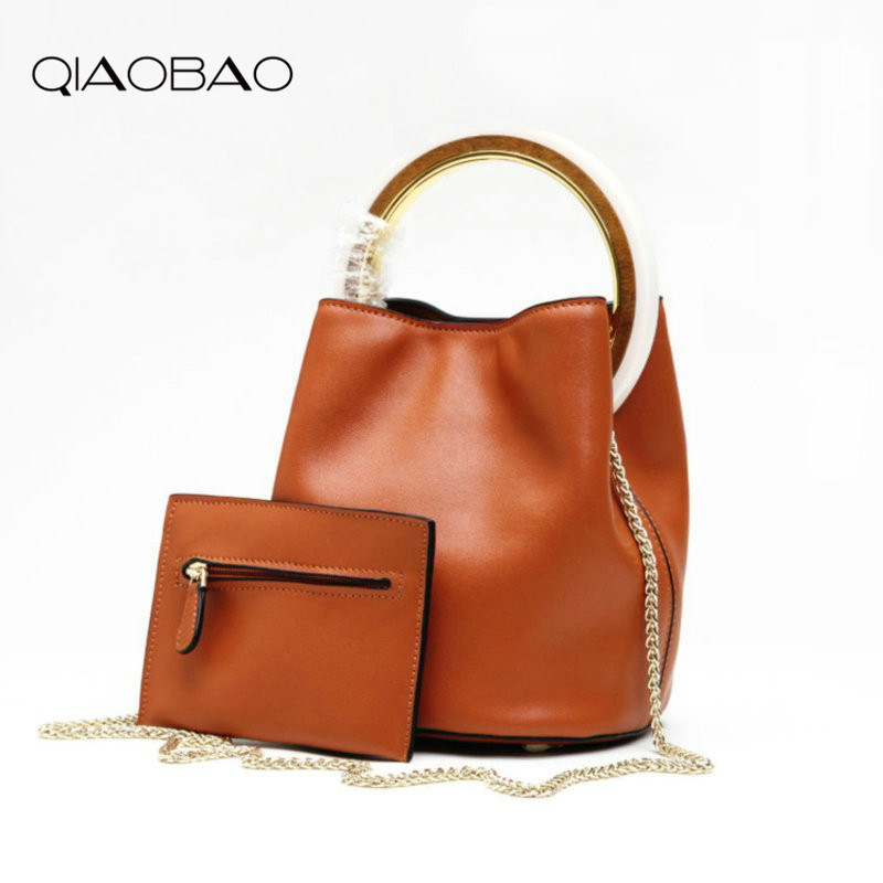 QIAOBAO 2017 100% Cowhide Leather Bag Fashion Ladies Portable Round Leather Bucket Bag Shoulder Twist Leather Chain Female Bag qiaobao 100% genuine leather handbags new network of red explosion ladle ladies bag fashion trend ladies bag