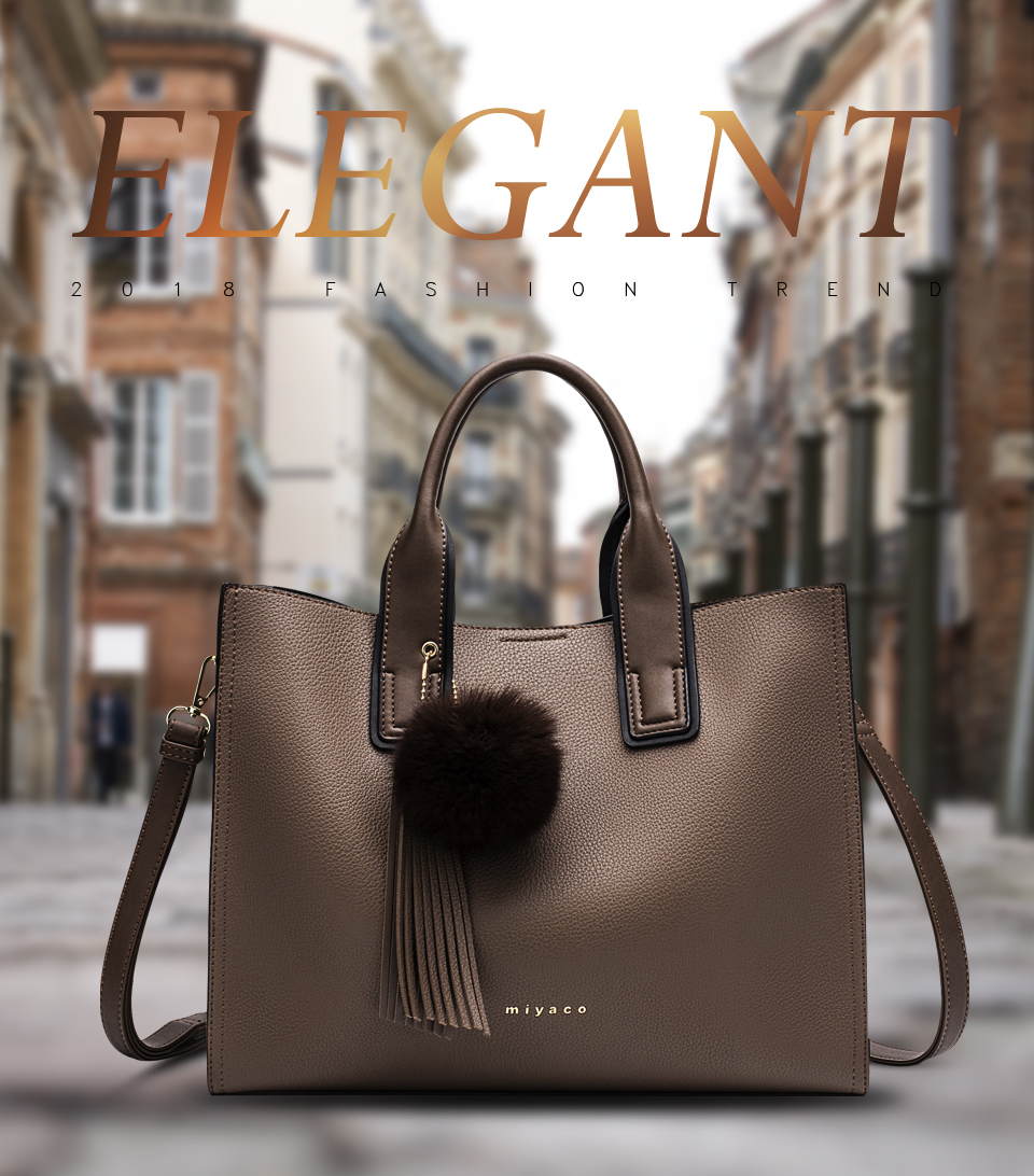 Miyaco Women Leather Handbags Casual Brown Tote bags Crossbody Bag TOP-handle bag With Tassel and fluffy ball 12