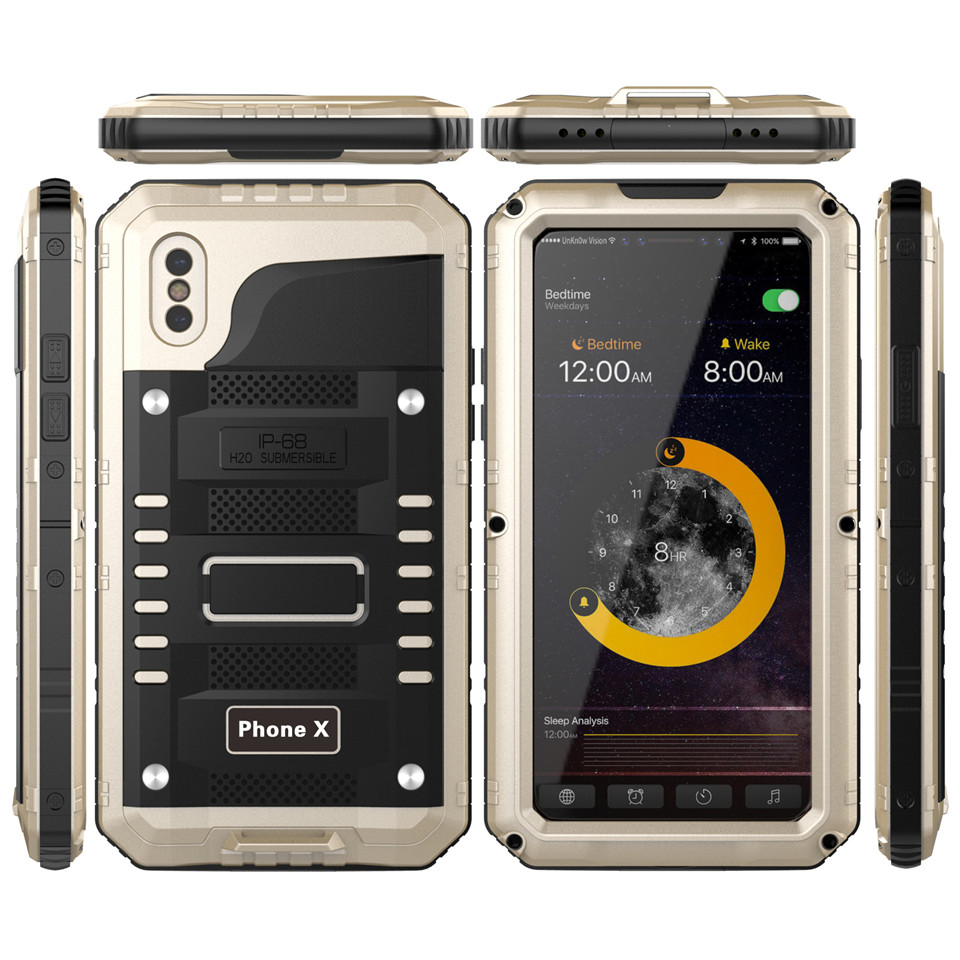 Luxury armor Metal Aluminum Waterproof phone Case for iPhone XR X 6 6S 7 8 Plus XS Max Shockproof Dustproof Heavy Duty Cover