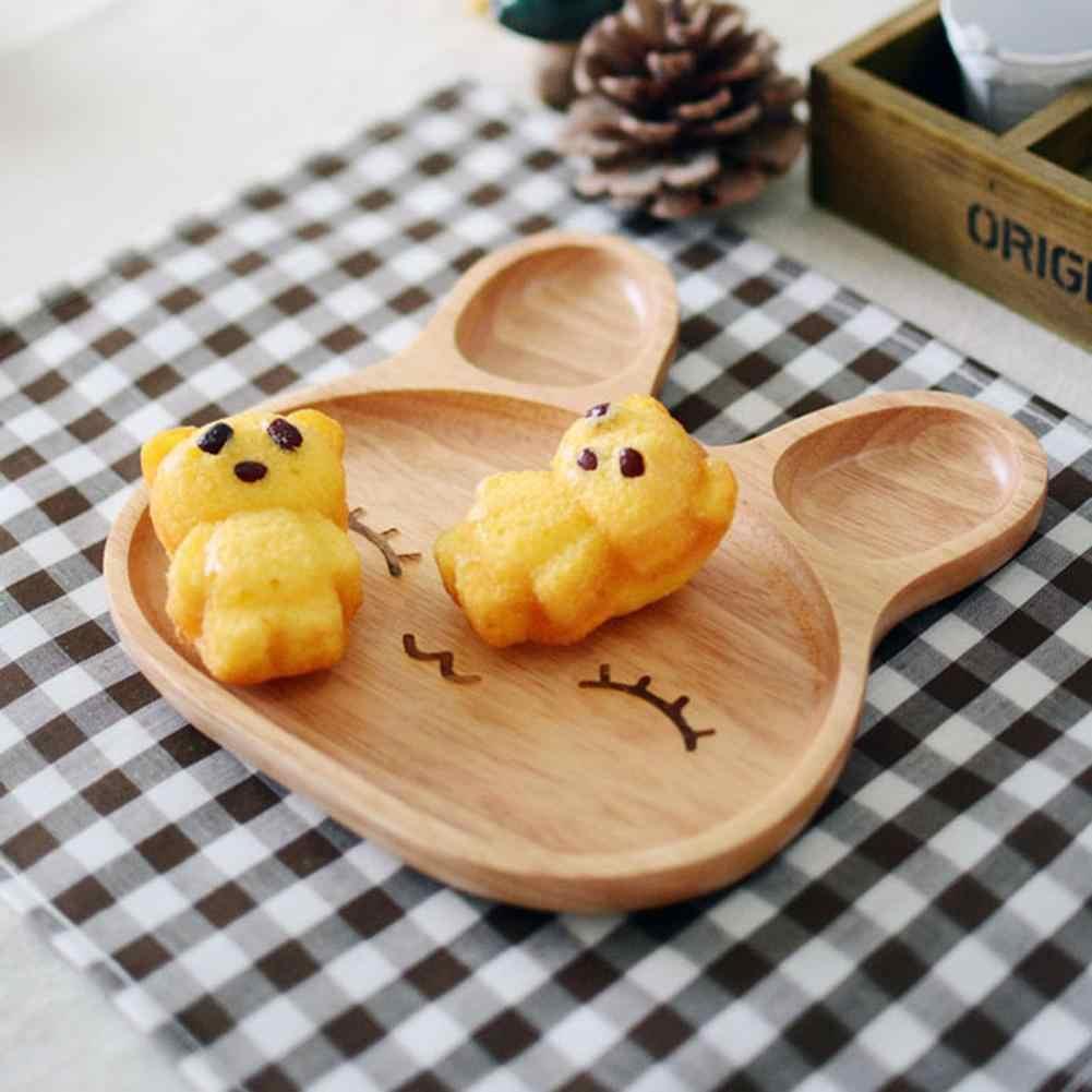 Bonito dos desenhos animados inovador coelho-em forma de bandeja de alimentação do bebê de bambu natural placa de utensílios de mesa crianças crianças louça