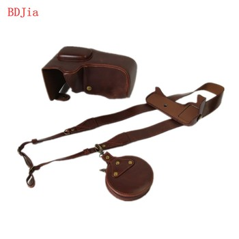 New Luxury Leather Camera Case For Nikon D5500 SLR Camera PU Leather Camera Bag Cover With Battery Opening + strap カメラ バッグ 革