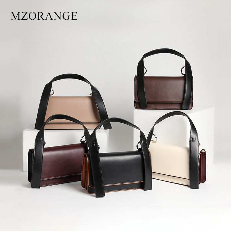 NEW 2018 Vintage Tote with Genuine Leather women Handbags Simple Hit color design Lady Organ Shoulder Bags Female Crossbody Bag 2016 new simple color block rivets design women s shoulder bag