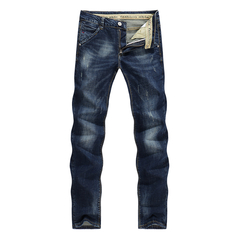KSTUN Men's Jeans Classic Direct Stretch Dark Blue Business Casual Denim Pants Slim Scratched Long