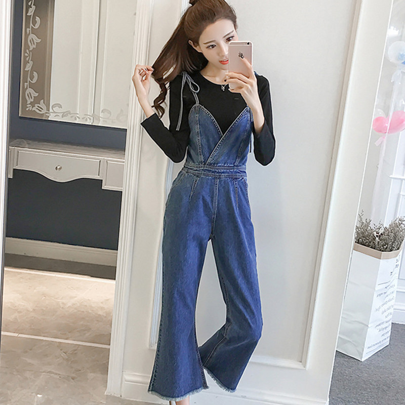 YUMMYCOOK Spring summer fashion Sling Nine-point jumpsuit female loose Wild large size High waist Rompers Women's clothing A123 2