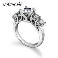 Luxury 100% Real Solid Sterling Silver Ring Round Cut Sona Ring Gift Jewelry Engagement Wedding Rings For Women Anel Aneis De