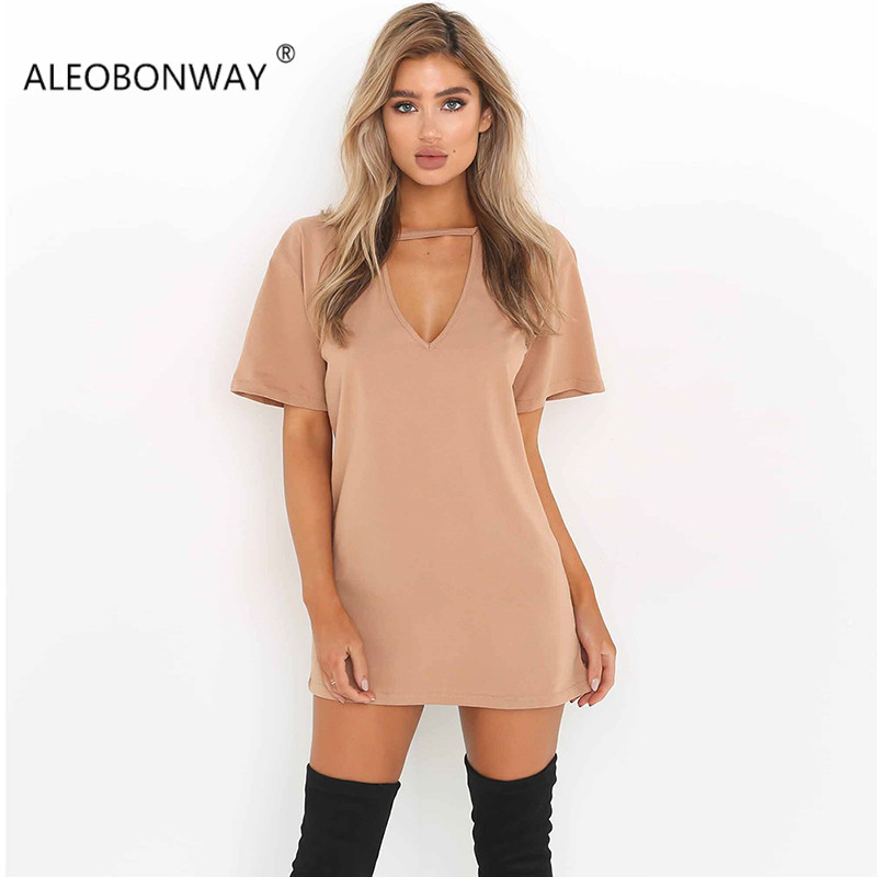 ALEOBONWAY Summer Women Deep V Neck Short Sleeve T Shirts Dress Casual Solid Loose Straight Summer Wome Dress Vestidos CL355