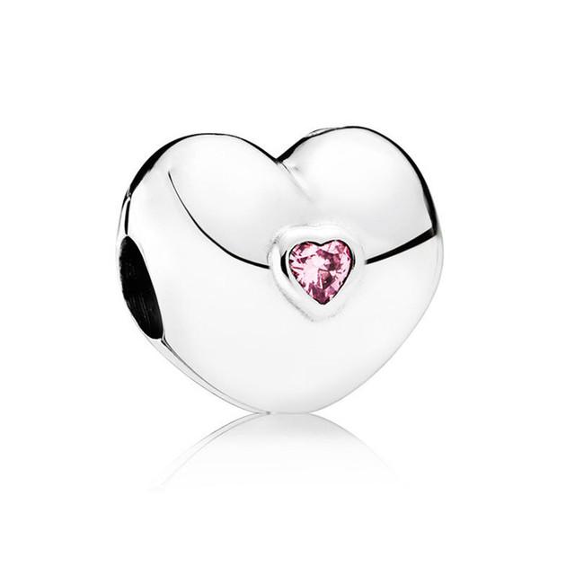 2016 Otoño Nueva colección Constante Corazón Rosa CZ encantos de clip 925 sterling silver charm apta del grano pulsera diy joyería fina KT064