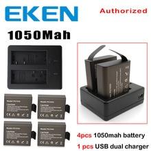 EKEN 4 unids Batería + Cargador Doble Para EKEN H9 H8PRO H8R H8 pro V8 SJ4000 SJ5000 SJ6000 SJ7000 SJ8000 C30 C30R acción cámara