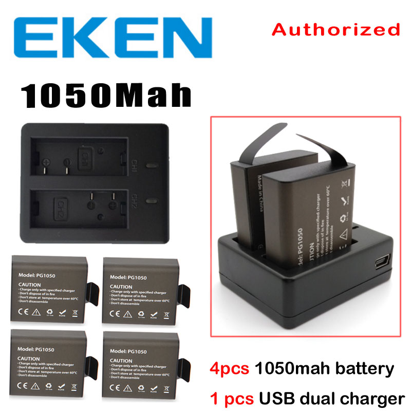EKEN 4pcs Battery + Dual Charger For EKEN H9 H8PRO H8R H8 pro V8S SJ4000 SJ5000 SJ6000 SJ7000 SJ8000 C30 C30R action camera