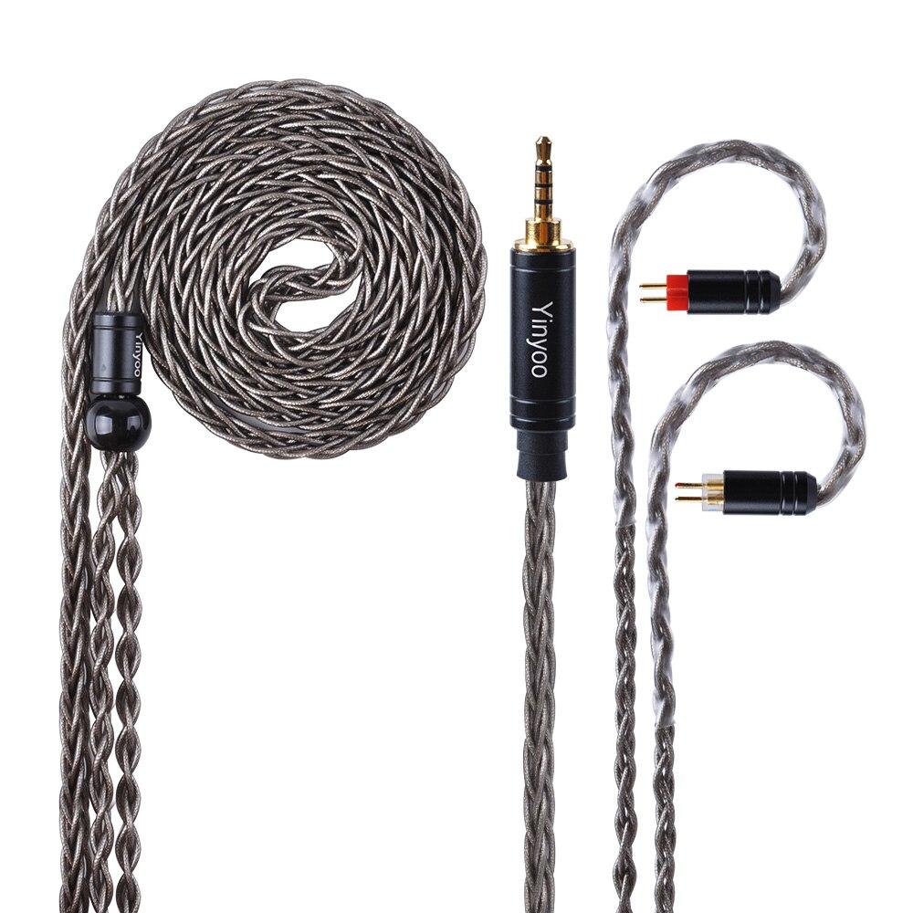 Yinyoo коричневый 8 Core с серебряным покрытием повышен кабель 2,5/3,5/4,4 мм балансный кабель с MMCX/2pin разъем для HQ5 HQ6 ZS10 ZS6 ES4