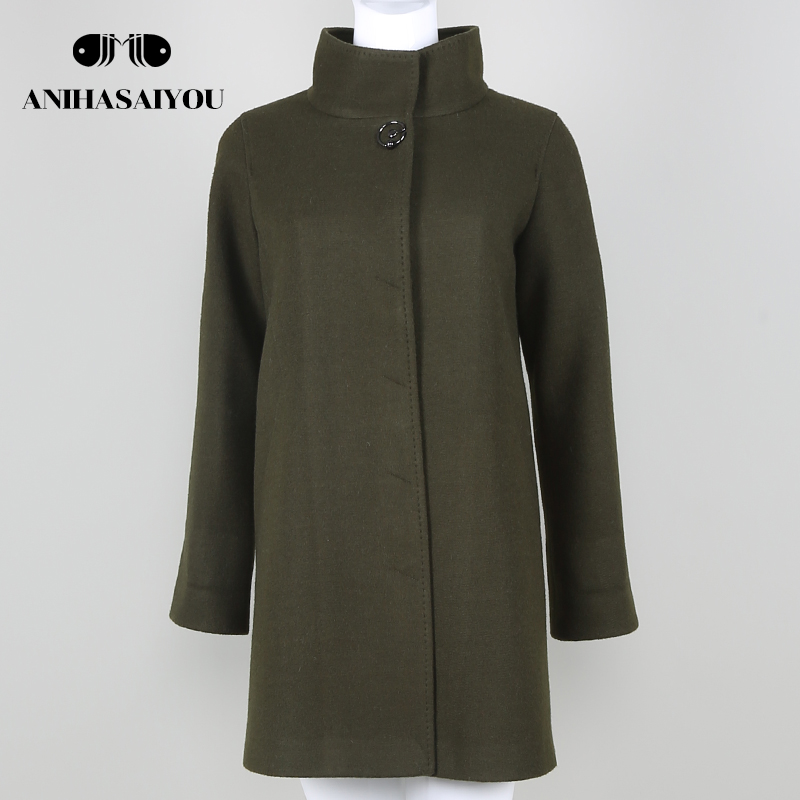 2018 Autumn fashion military green women wool coat brand quality high grade fabric wool coat Casual Women's clothing coat