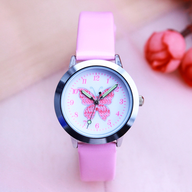 Luxury Leather Kids Watches Wristwatch Fashion Flower Butterfly Student Bracelet Female Round Clock Quartz Watch
