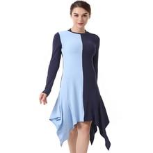 Summer Women's Round Neck Long Sleeve Irregular Colorblock Dress Fashion Slim Party Dress недорого