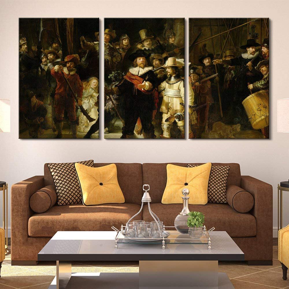 3 Panel World Famous Painting Reproduction on Canvas Wall Art - The Nightwatch by Rembrandt  Drop shipping3 Panel World Famous Painting Reproduction on Canvas Wall Art - The Nightwatch by Rembrandt  Drop shipping