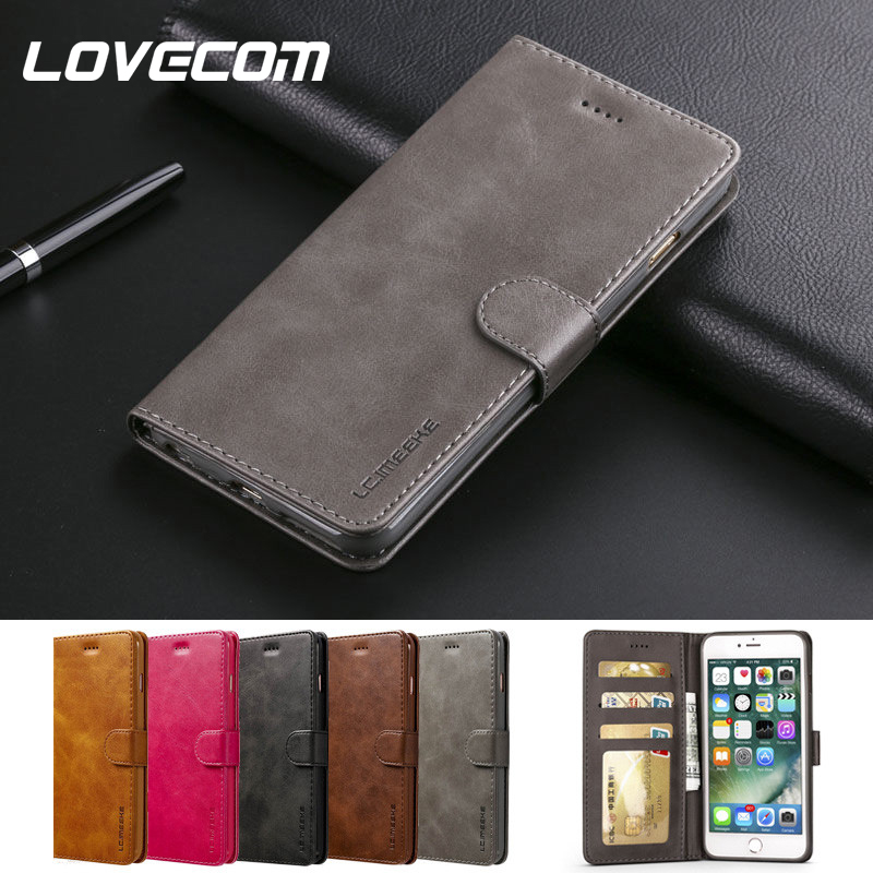 LOVECOM Luxury Flip <font><b>Case</b></font> For <font><b>iPhone</b></font> 5 5S SE 6 6S 7 <font><b>8</b></font> Plus X XS MAX XR <font><b>Case</b></font> <font><b>Leather</b></font> Phone Cover Coque Vintage Wallet Bags Hoesje image