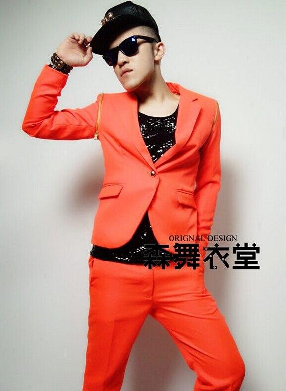 S-5XL hommes mode slim DJ chanteur costumes top concert timomatique néon orange démontage costume costumes vêtements Blazers robe