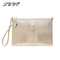 2017 New Arrival Genuine Leather Women Large Hand Bag European Brand Crocodile Evening Gold Day Clutch