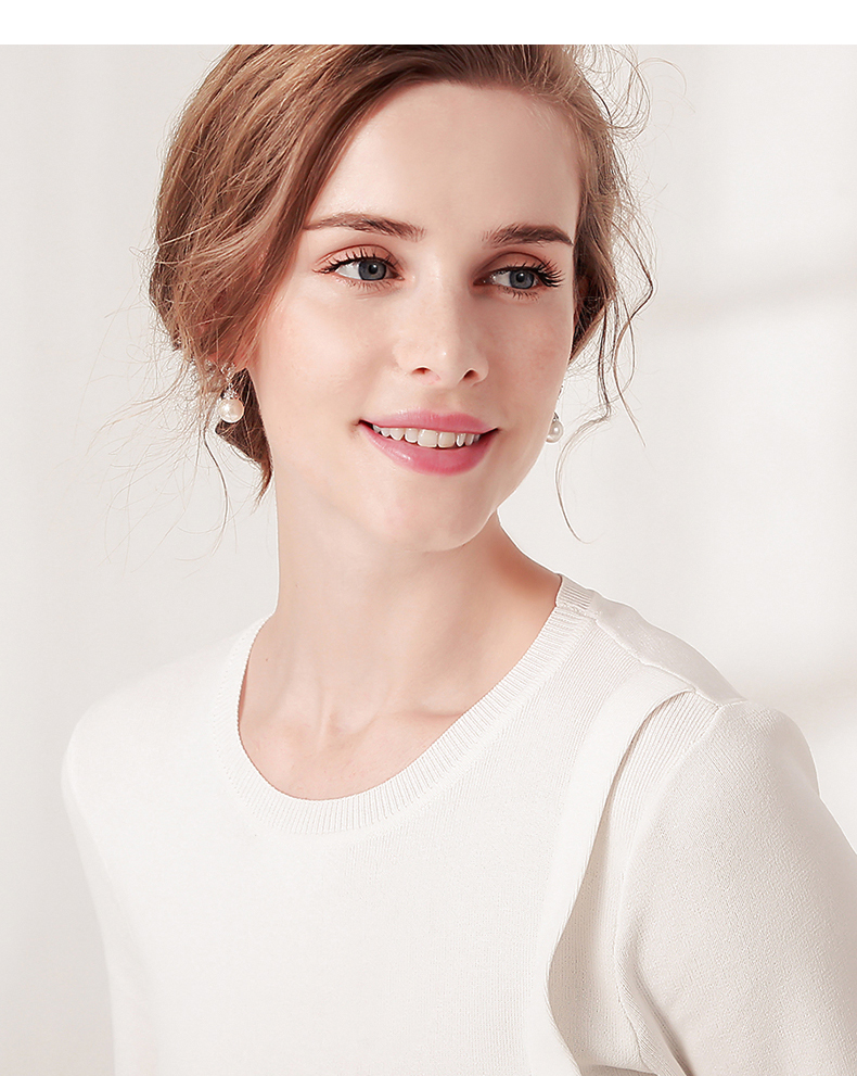 HTB1zFEtwYZnBKNjSZFGq6zt3FXaC Warme Farben 925 Sliver Women Earrings Made With Swarovski Crystal Elegant Pearl Drop Earrings Fashion Jewelry Wedding Earrings