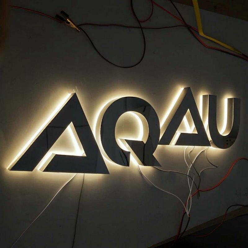 Пользовательские из нержавеющей стали с подсветкой led бизнес-магазин логотип спереди письмо вывесок