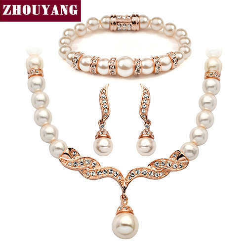 ZHOUYANG Top Quality ZYS173 Imitation Pearl Rose Gold Color Elegant Wedding Jewelry Set Made with Austrian Crystals