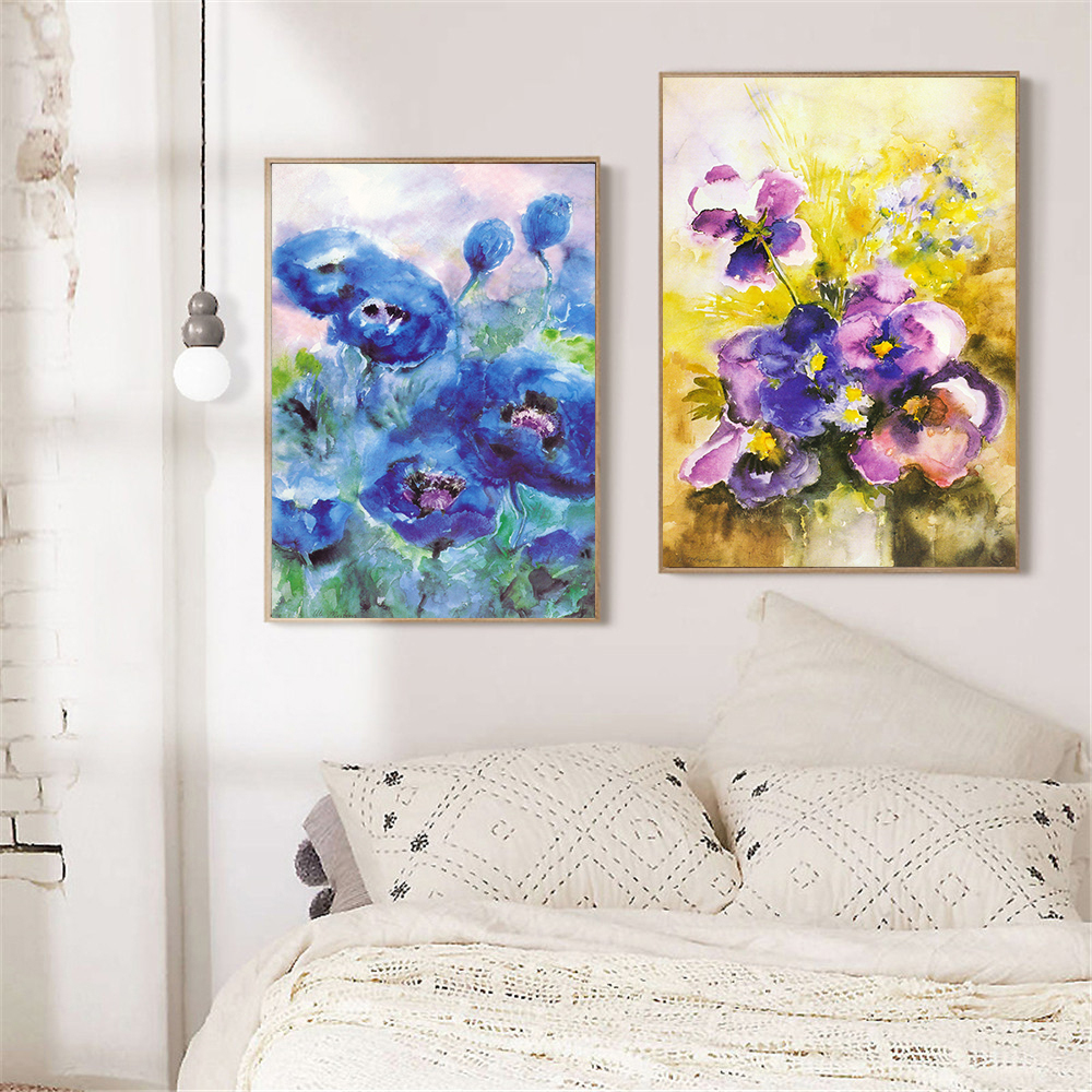 Purple Flower Oil Painting Abstract Wall Art Picture: Purple Flower Oil Painting Abstract Wall Art Picture