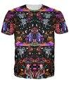 Межзвездный Эхолокации Футболка яркой соз цвета и обильные психоделические узоры 3d печати футболка тис для женщин мужчин