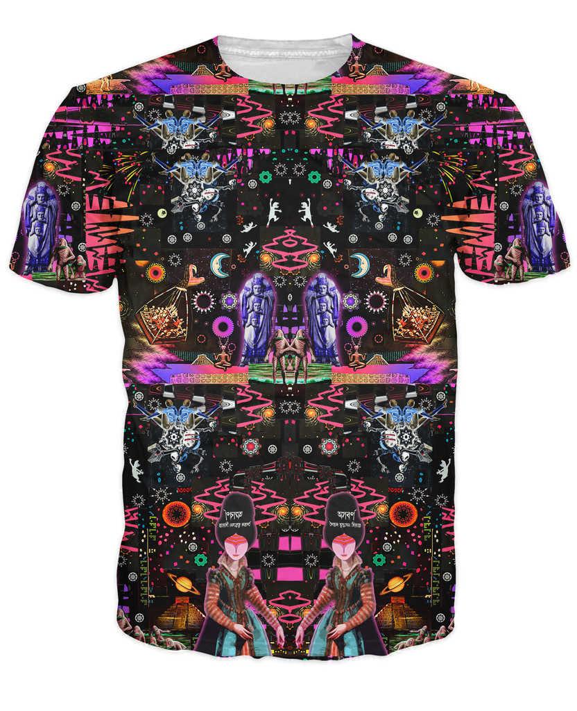 Футболка Interstellar Echolocation яркие цвета и множество психоделических узоров 3d печать футболки для женщин и мужчин