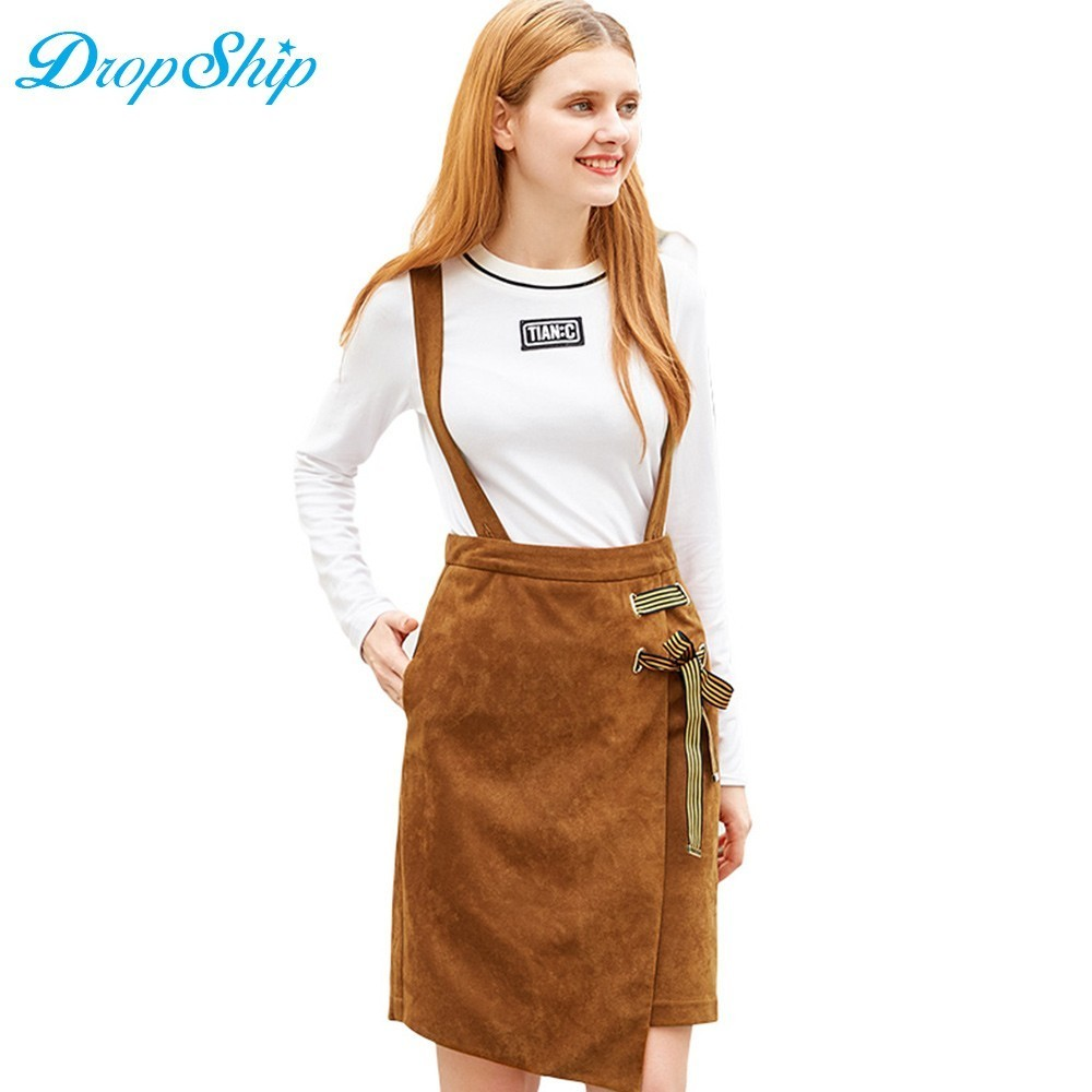 Dropship Streetwear Women'S Lace Up Solid Strap Braces Mini Skirt For Fashion Female Ladies High Waist Slim Casual Clothes