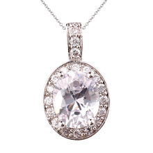 Jewelry 925 Sterling Silver Pendant Necklace Women Beauty Oval Stone Bijoux with 18-inch Chain P041