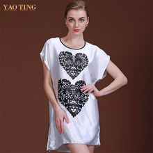 New Faux Silk Nightgown Spring And Summer Clothes Love Nightgowns & Sleepshirts Indoor Clothes Short Sleeve Women Sleepshirts