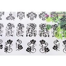 3d Mix Flowers Design Nail Stickers Decals,108pcs/sheet Black Adhesive Metallic Nail Tips Art,DIY Manicure Nail Decoration Tools