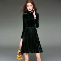 2017 New winter high neck mini pleated dress velvet solid bodycon dresses wrist sleeve jumper thick dress Pearl decoration