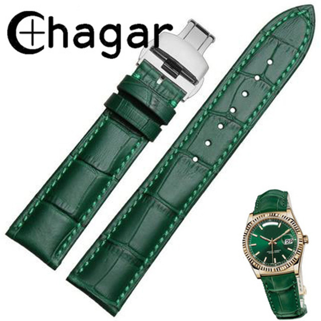Genuine Leather Green bamboo grain Watchband Butterfly Buckle 12mm 14mm 16mm 18m