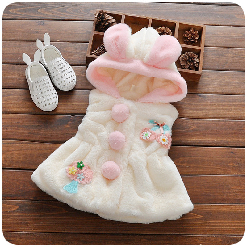 BibiCola Winter Baby Girls Outerwear&Coats Cartoon Thick Warm Princess Girls Vest Hooded Kids Jackets Baby Girl Velvet Waistcoat