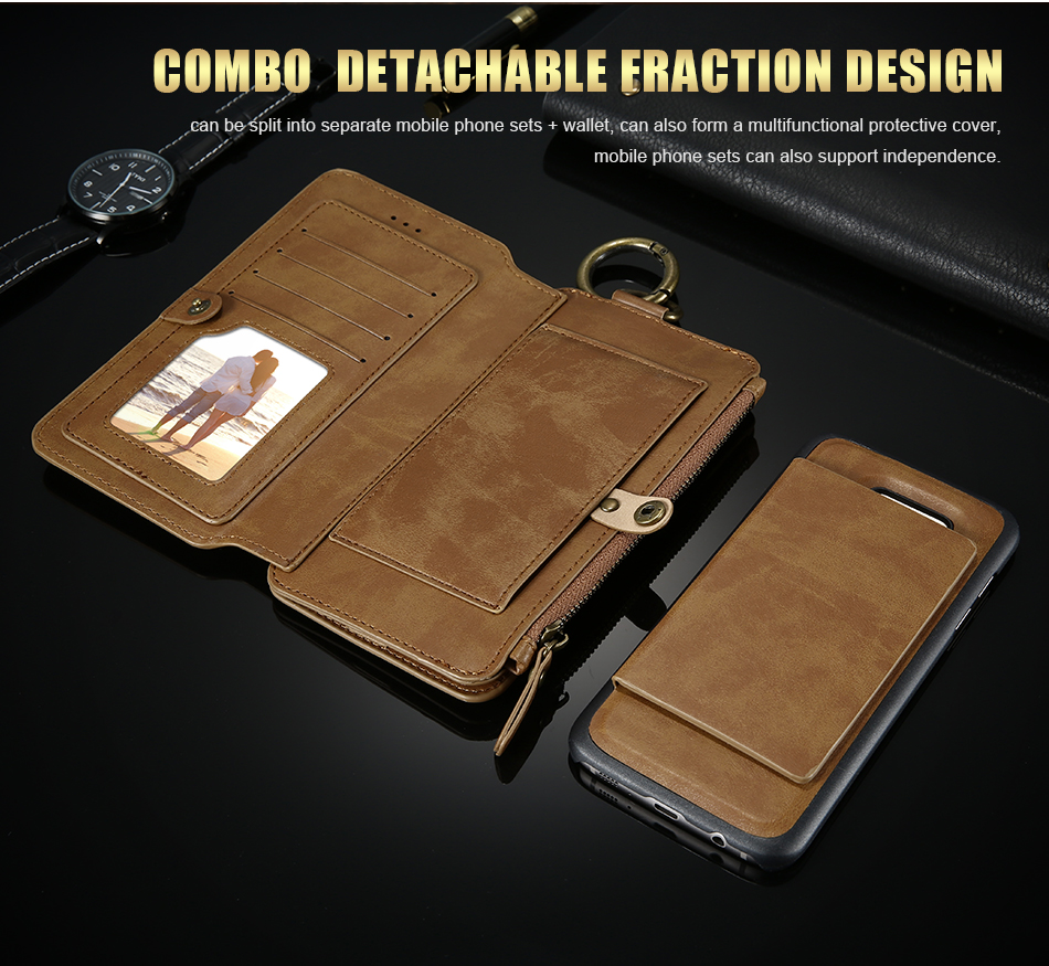 FLOVEME Hybrid Detachable Leather Case For Samsung Galaxy S7 Edge 18 Card Slot Metal Zipper Cash Storage Wallet Pouch Cover Bag (4)