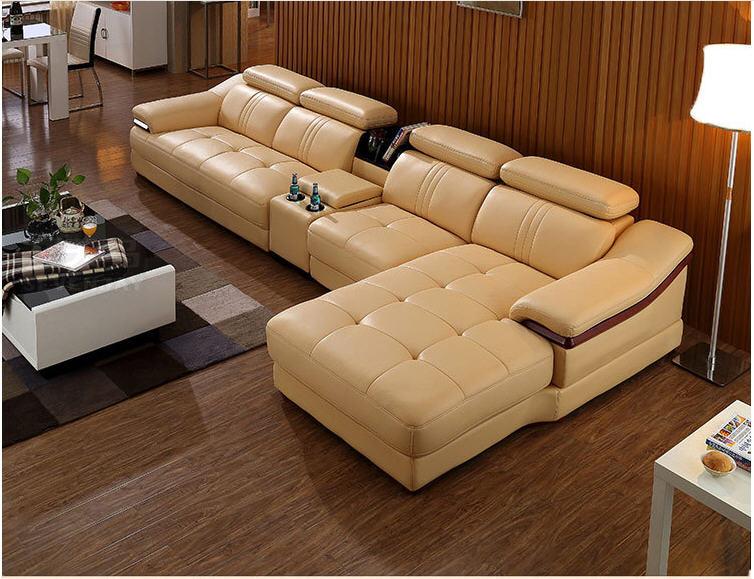 Living Room Sofa  Corner Sofa Sectional Real Genuine Leather Sofas L With Storage Cup Holder Muebles De Sala Moveis Para Casa