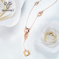 Viennois Brand New Fashion Jewelry Rose Gold Plated Long Statement Necklace Rhinestone Shell Pendants Necklaces For