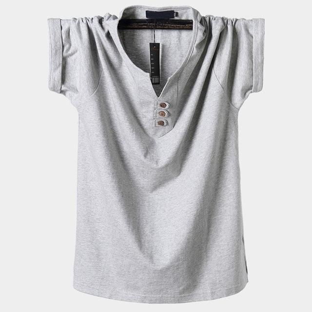 MFERLIER summer men large size t-shirt plus size big short sleeve tshirts cotton V-neck 6XL 7XL 8XL 9XL 10XL simple navy blue