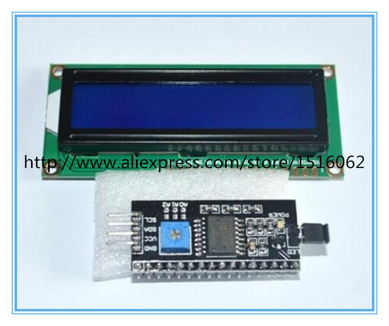 1602 16x2 HD44780 Character LCD w IIC I2C Serial Interface Adapter Module