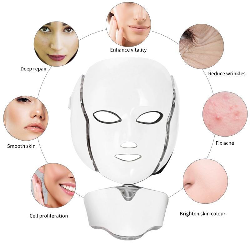 7 Colors Led Mask Spa Facial Masks Skin Rejuvenation Whitening Facial Beauty Daily Skin Care Mask  LED Light Photon Therapy Mask