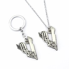 Thor Jewelry Tv Series Vikings Icon Necklace VLogo Pendant Key chain Ragnar Lodbrok Men Women Birthday Gift
