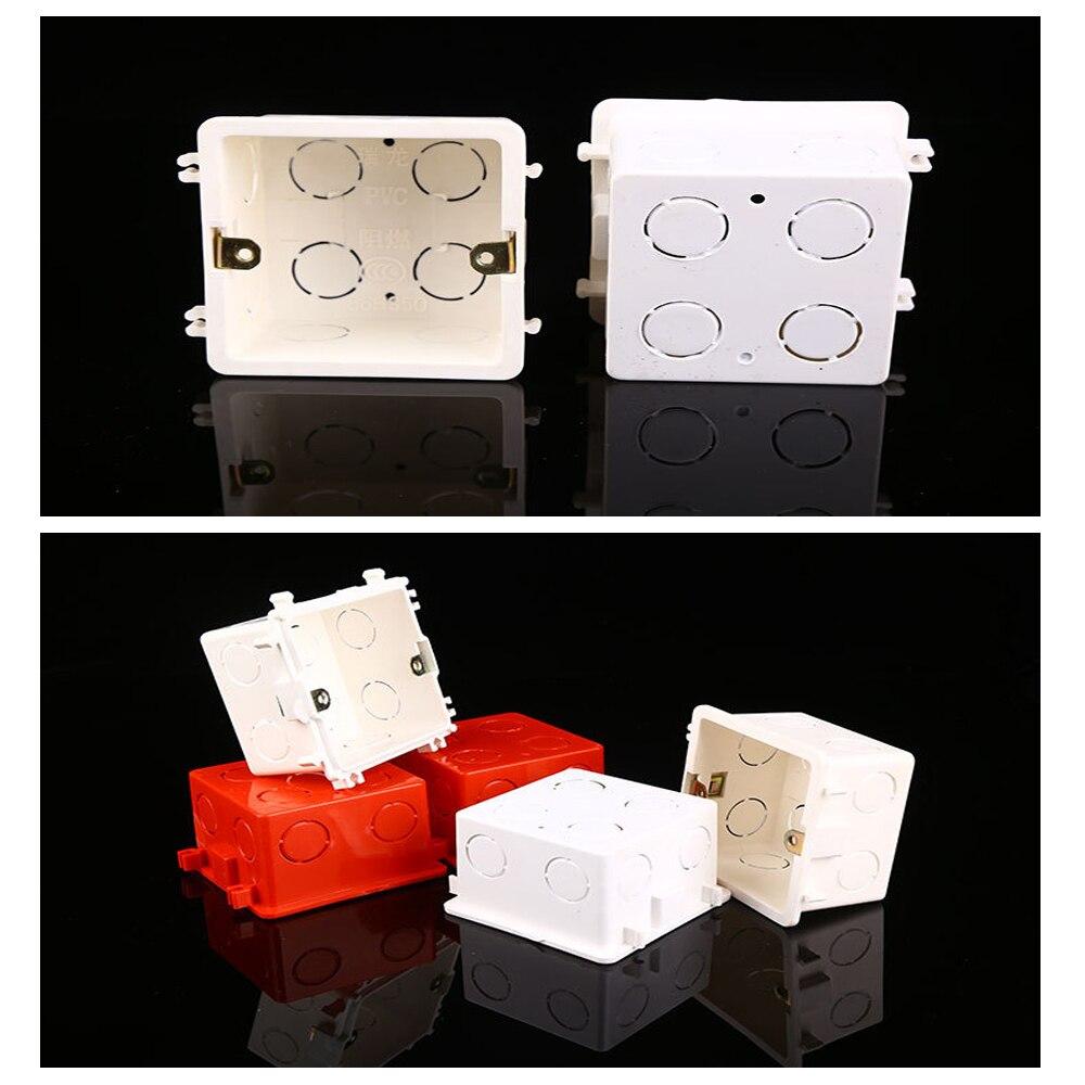 1 Pcs PVC Plastic  Wall Mounting Box, Standard  Internal Cassette, Wiring Box, White/Red Back Box 86mm*86mm*60mm Hot Sale