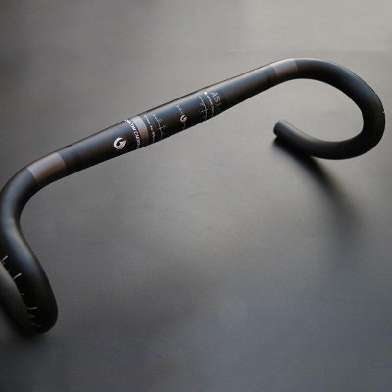 ФОТО ASIACOM 3K Full Carbon Fibre Road Handlebar Outer Line Road Bike Bent Bar Handlebar Circular Bicycle Parts 31.8*400/420/440mm