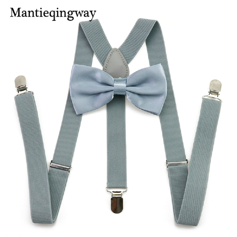 Mantieqingway Unisex 2.5cm Elastic Suspenders Bowties Set For Men Women Adult 3 Clip-on Y Back Suspender Braces Bow Tie Set Suit