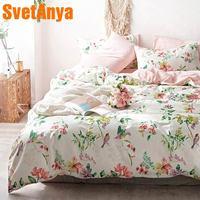 Svetanya Pastoral Cotton Bedding Set printing Bed Linens (sheet pillowcase Duvet Cover) Single double Queen King size