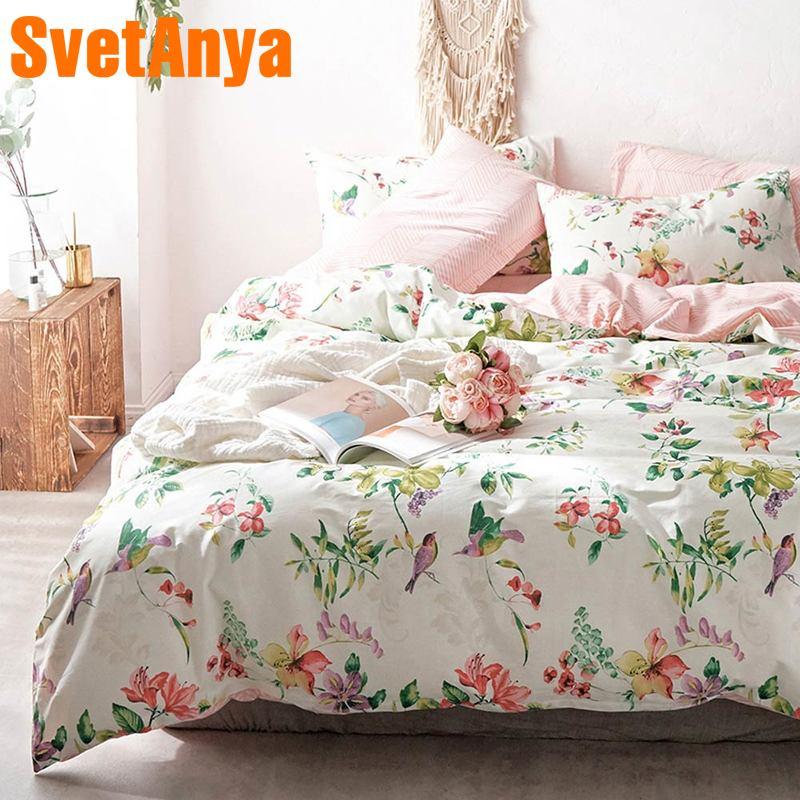 Svetanya pastorale coton ensemble de literie impression linge de lit (drap taie d'oreiller housse de couette) simple double reine King size